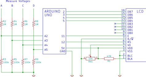 Four Channel Arduino Lcd Voltmeter