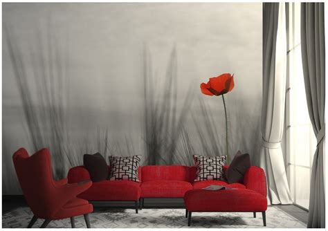bedroom wall murals red poppy  store