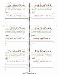 Christmas Secret Santa Wish List Printable