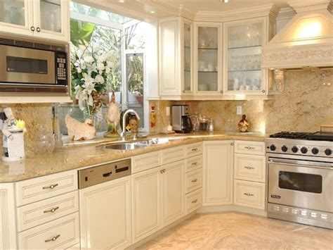 Cream Kitchen Cabinets Countertops Ideas  Remodeling