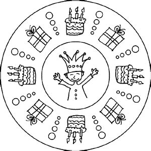 mandala ausmalbilder zum thema kindergeburtstag und kinderfest
