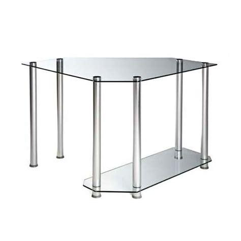 glass corner computer desk rta clear glass corner computer desk silver ct 013