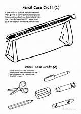 Pencil Case Cut Glue Craft Colouring Coloring Pencilcase Worksheet Printable Worksheets Activities Fun Template Esl Games Screen sketch template