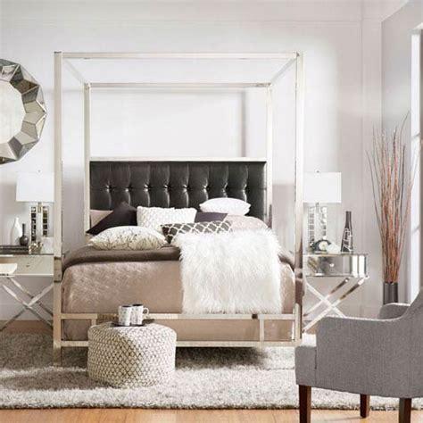 chrome canopy bed homehills adora black glam chrome canopy bed 22e739bq
