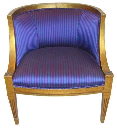 pre owned newly upholstered purple striped barrel chair