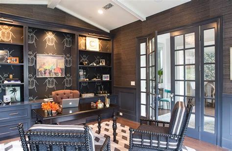 Black Paneled Office With Vaulted Ceiling