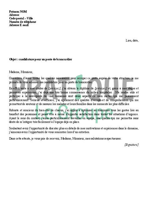 lettre de motivation pour aide de cuisine lettre de motivation pour devenir brancardier pratique fr