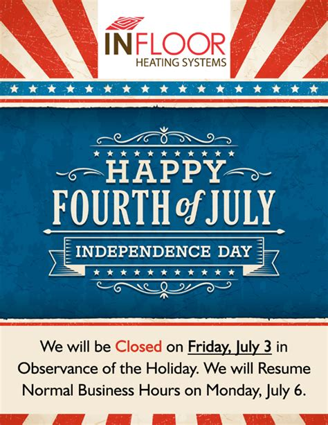 We Will Resume Work On Monday by Infloor Closed Friday July 3