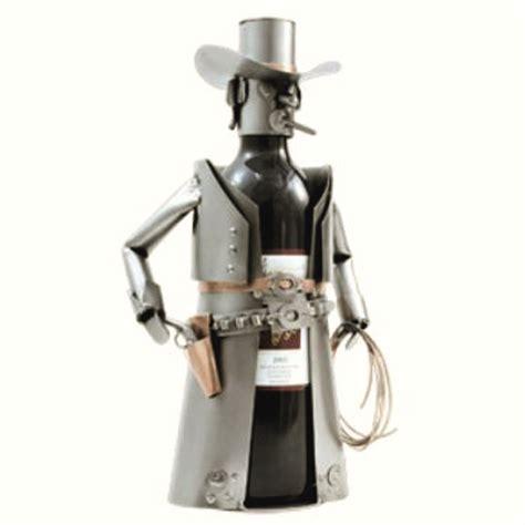 support bouteille vin porte bouteille vin de table cowboy en m 233 tal design hinz kunst