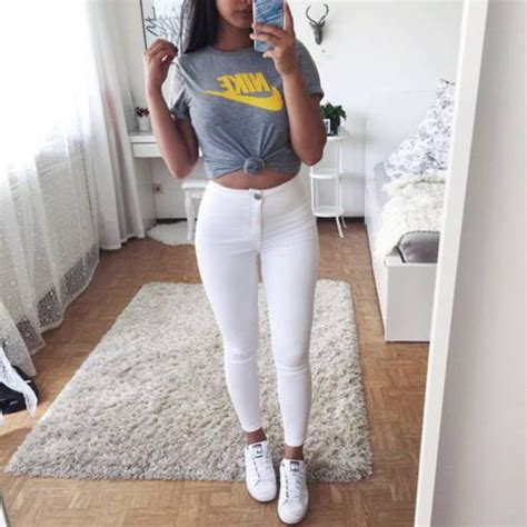 Top grey top nike nike crop top tumblr outfit tumblr - Wheretoget