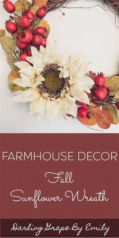 Door Wreath Wreaths Fall Sunflower Farmhouse Grapevine