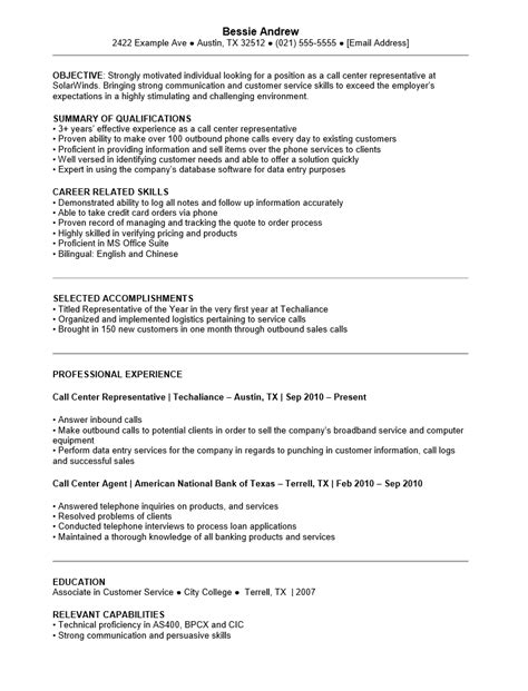 free customer service call center resume template sle