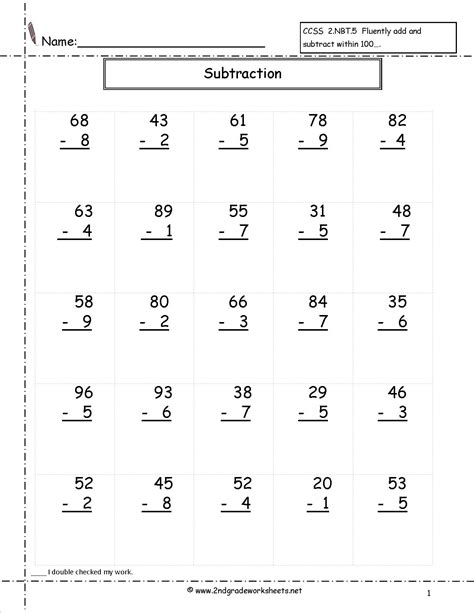 multi digits addition and subtraction worksheet two digit subtraction worksheets