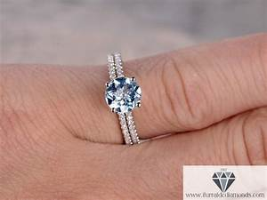 round cut aquamarine solitaire diamond pave engagement With solitaire engagement ring with pave wedding band