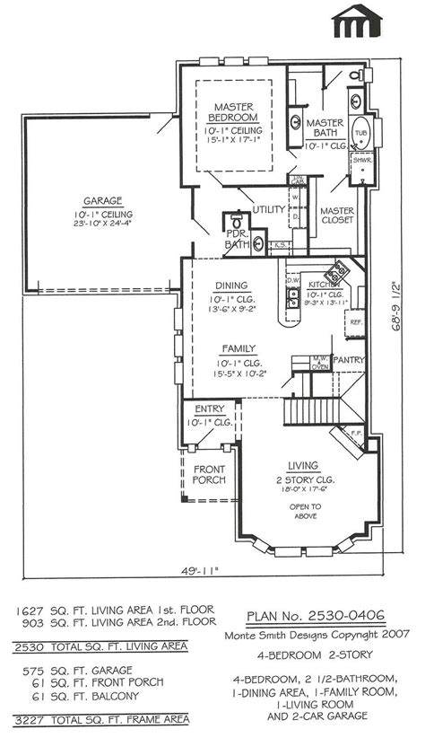 4 Bedroom House Plans 2 Story by 2 Story 4 Bedroom 2 1 2 Bathroom 1 Dining Room 1