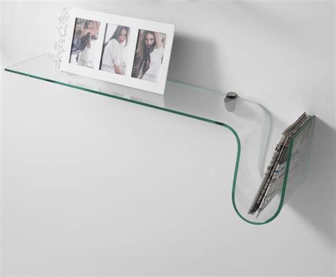 porta mensole vetro mensola da muro in vetro porta riviste con reggimensola