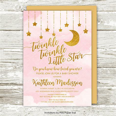 twinkle twinkle  star baby shower invitation pink