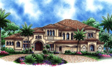Grand Mediterranean House Plan With Home Theater And Sun