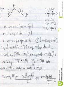Handwritten Physics Homework Stock Photos