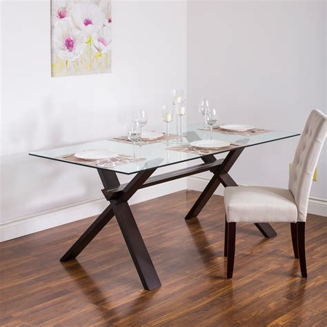 ksp kona rectangle glass dining table walnut kitchen