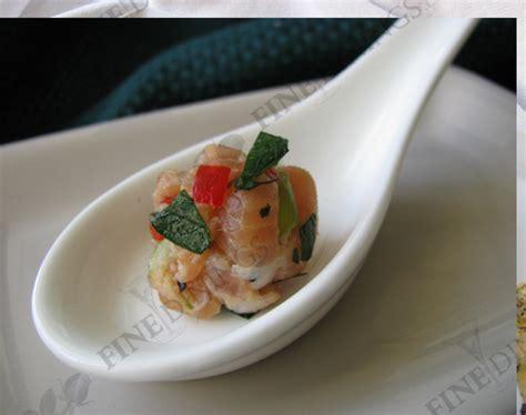 canapes on spoons recipes salmon tartare amuse bouche appetizer finedinings com recipe