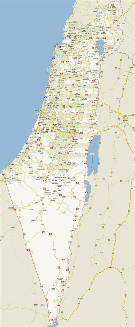 large detailed road map  israel   cities israel