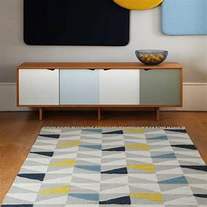 tapis design type kilim tisse main gris jaune et bleu With tapis kilim avec canape d angle design contemporain