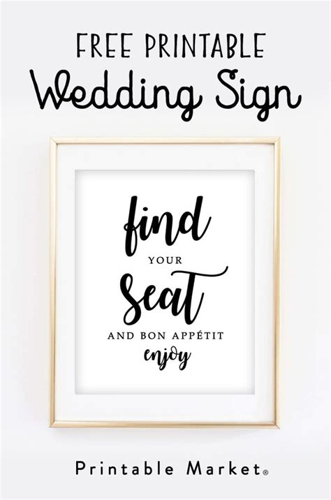 printable wedding sign find  seat  bon