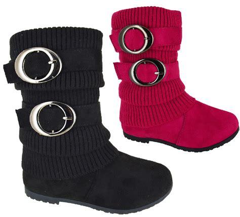 girls flat heel kids infant mid calf school winter boots