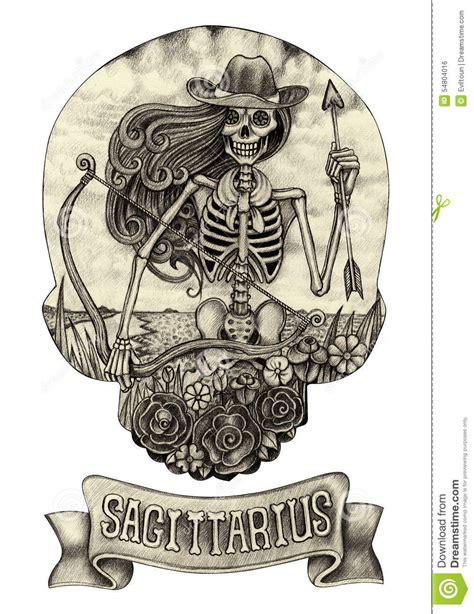 zodiac skull sagittariushand drawing  paper stock