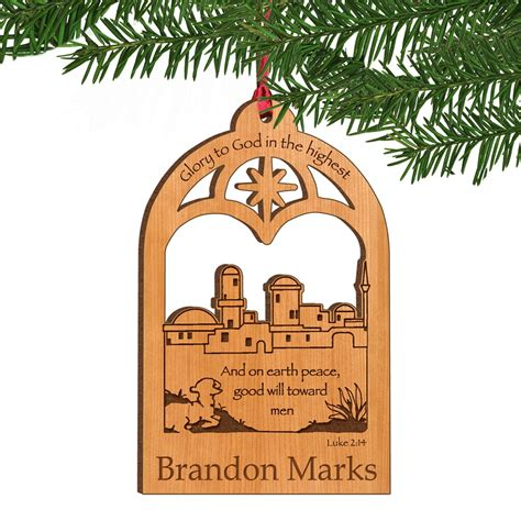bethlehem town personalized wooden christmas ornament