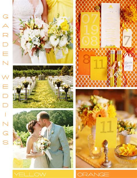 orange and yellow wedding color scheme garden wedding ideas