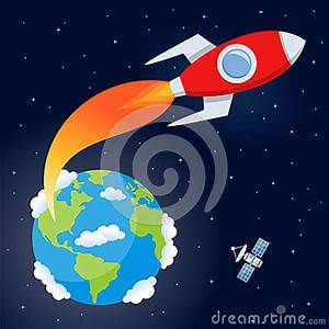 Rocket Flying From Earth To Space Stock Vector - Image ...
