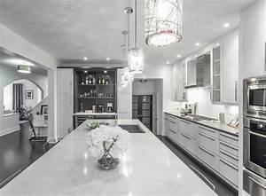 Modern White & Grey Kitchen Design Oakville - Modern