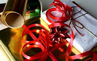 Wrapping Christmas Paper Presents Gifts Ribbons Wallpapers