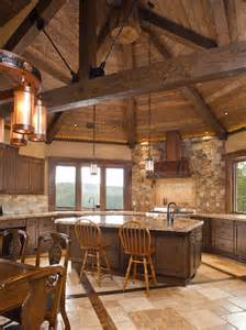 Log Cabin Kitchen Island Ideas by Rustic Kitchen Range Hoods