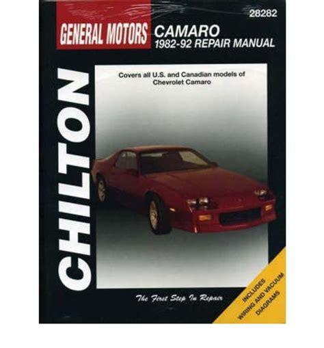 car manuals free online 2001 chevrolet camaro instrument cluster chevrolet camaro 1982 92 repair manual sagin workshop car manuals repair books information