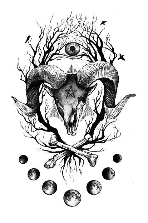 Sheep Demon Satan Moon Branch Eye Horns Bones