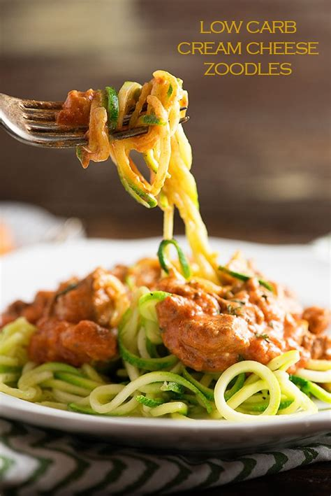 Will make again for sure! Low Carb Cream Cheese Spaghetti Zoodles - This low carb ...