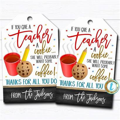 Teacher Give Cookie Gift Tags Printable Appreciation