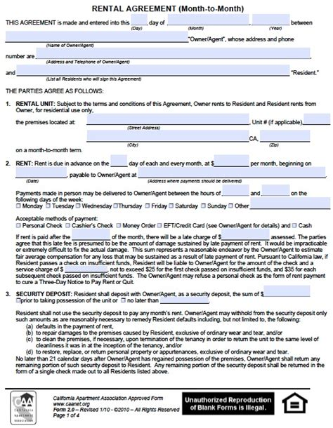 California Lease by California Rental Lease Agreement Forms And
