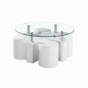 Table Basse En Verre Pas Cher : table basse avec poufs encastrables 90x90x45 cm ~ Teatrodelosmanantiales.com Idées de Décoration