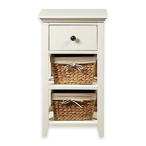 Bathroom Cabinets Bed Bath And Beyond by Pulaski Basket Bathroom Storage Cabinet In Linen White