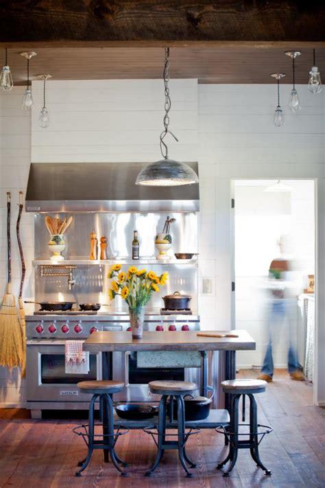 industrial farmhouse kitchen  professional grade stove