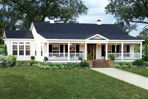 One Story House With Wrap Around Porch White — Simple