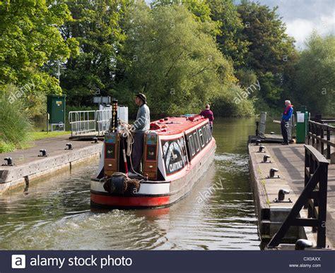 Houseboat England by Houseboat At Abingdon Locks Oxfordshire England Stock