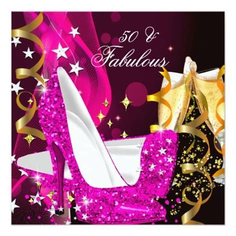 fabulous  womans hot pink gold birthday party card