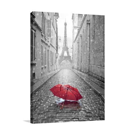 eiffel tower red umbrella black  white canvas print