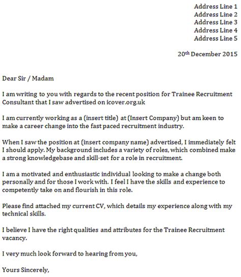Recruitment Consultant Cover Letter Exle by Trainee Recruitment Consultant Cover Letter Icover Org Uk
