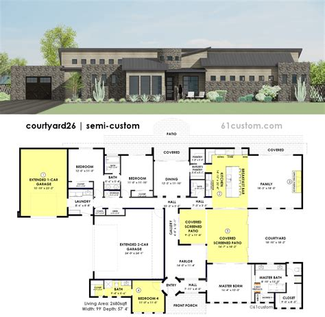 contemporary side courtyard house plan custom contemporary modern house plans